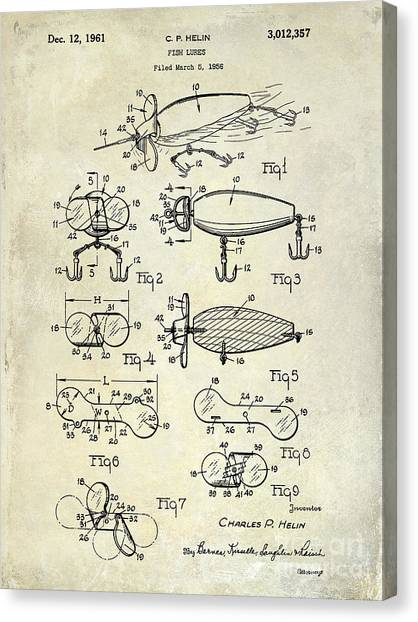 Fishing Poles Canvas Print - 1961 Fishing Lures Patent Drawing  by Jon Neidert