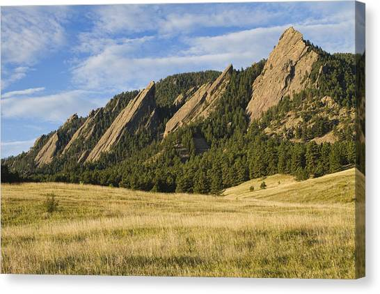 Flatirons With Golden Grass Boulder Colorado Canvas Print
