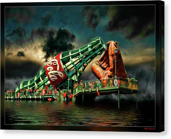 Floating Coke Bottle Canvas Print