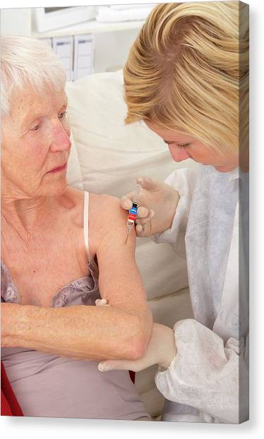 Flu Vaccination Canvas Print by Lea Paterson/science Photo Library