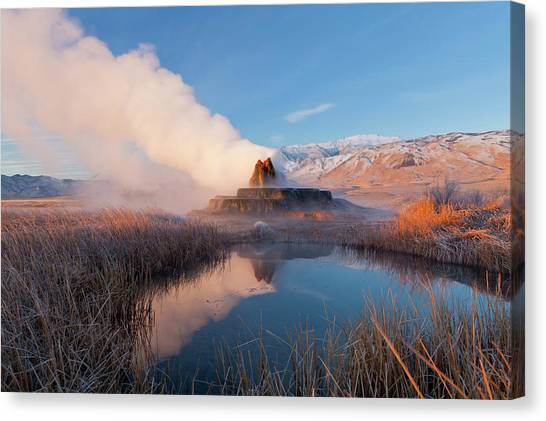 Black Rock Desert Canvas Print - Fly Geyser With Snow Capped Granite by Chuck Haney