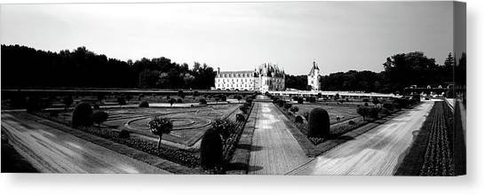 Chenonceau Castle Canvas Print - Formal Garden In Front Of A Castle by Panoramic Images