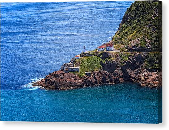 Canvas Print featuring the photograph Fort Amherst Lighthouse On The South Side Of St Johns Harbour by Perla Copernik