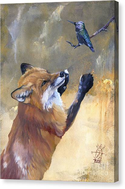 Fox Dances For Hummingbird Canvas Print