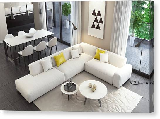Fresh And Modern White Style Living Room Interior Canvas Print by Tulcarion