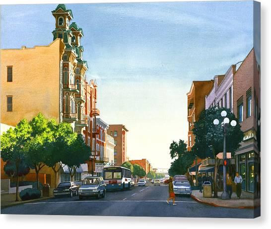 Traffic Canvas Print - Gaslamp Quarter San Diego by Mary Helmreich
