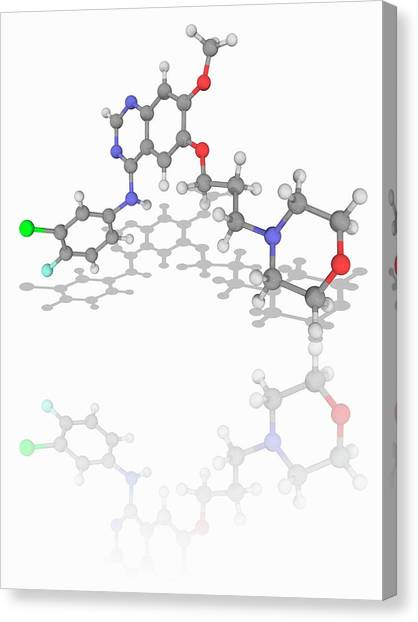 Gefitinib Drug Molecule Canvas Print by Laguna Design/science Photo Library
