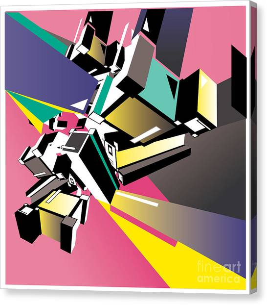Geometric Colorful Design Abstract Canvas Print by Singpentinkhappy