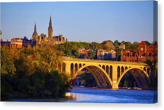 Georgetown University Canvas Print - Georgetown by Mitch Cat