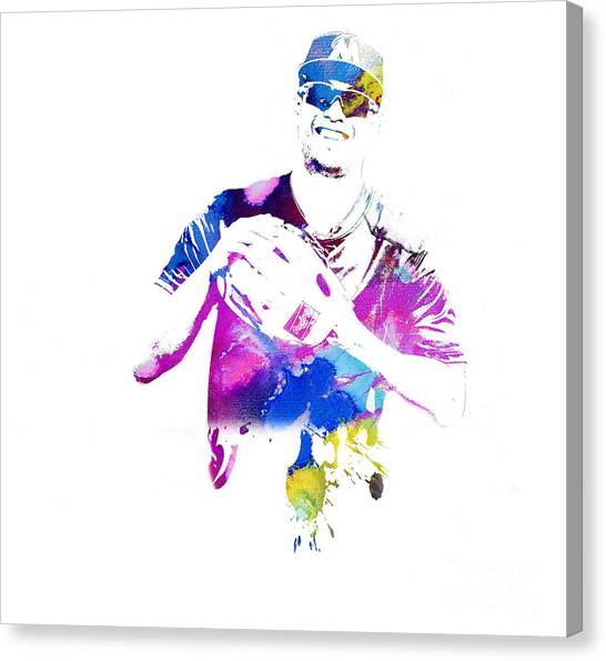 Miami Marlins Canvas Print - Giancarlo Stanton - Watercolor by Doc Braham
