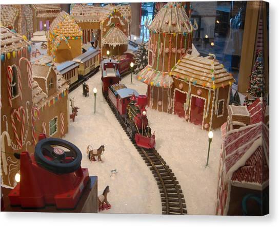 Gingerbread House Miniature Train Canvas Print