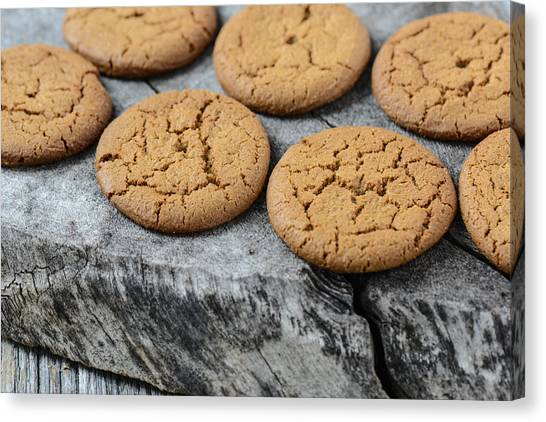 Ginger Snap Canvas Print - Gingersnap Cookies For Christmas by Brandon Bourdages