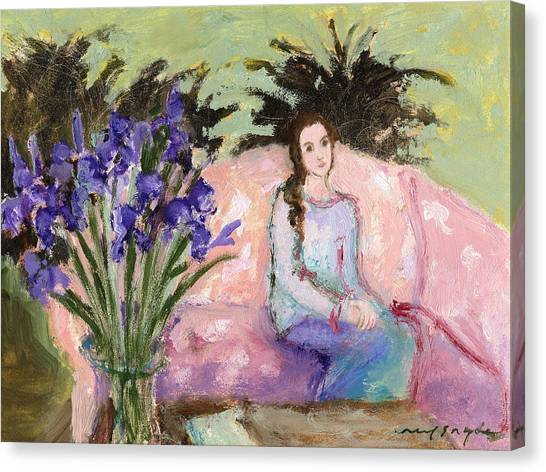 Girl With Iris Canvas Print