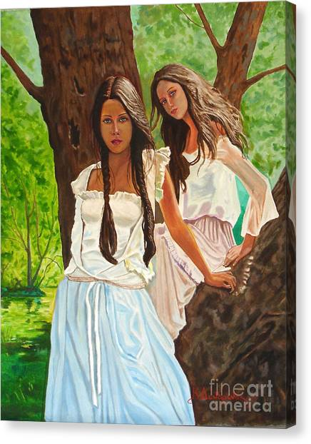 Girls In The Woods Canvas Print by Kostas Dendrinos