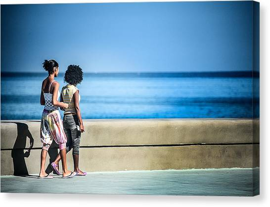 2 Girls On The Malecon Canvas Print