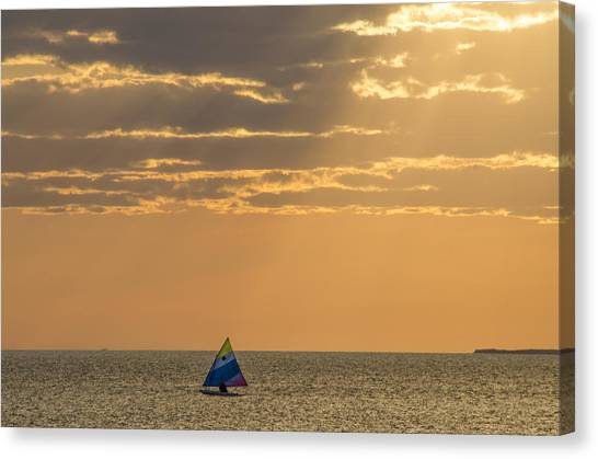Golden Sail On Menemsha Bight Canvas Print