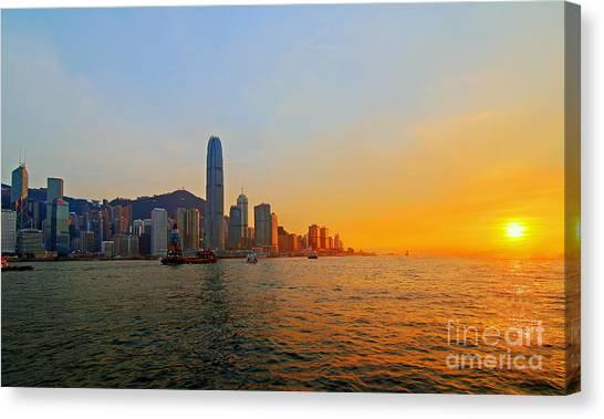 Hongkong Canvas Print - Golden Sunset In Hong Kong by Lars Ruecker