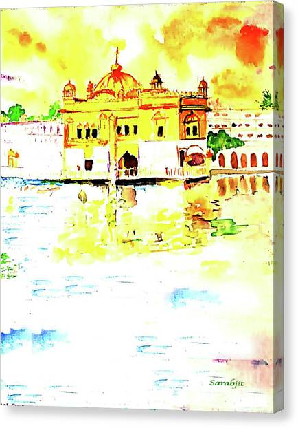 Sikh Art Canvas Print - Golden Temple by Sarabjit Singh