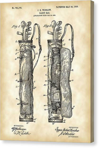 Sports Canvas Print - Golf Bag Patent 1905 - Vintage by Stephen Younts
