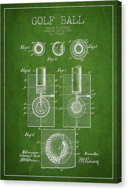 Pga Canvas Print - Golf Ball Patent Drawing From 1902 by Aged Pixel
