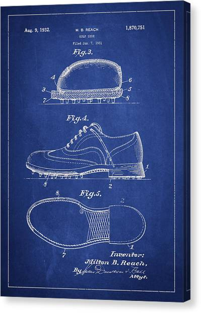 Golf Canvas Print - Golf Shoe Patent Drawing From 1931 by Aged Pixel