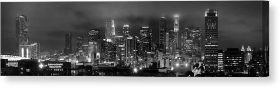 Los Angeles Skyline Canvas Print - Gotham City - Los Angeles Skyline Downtown At Night by Jon Holiday