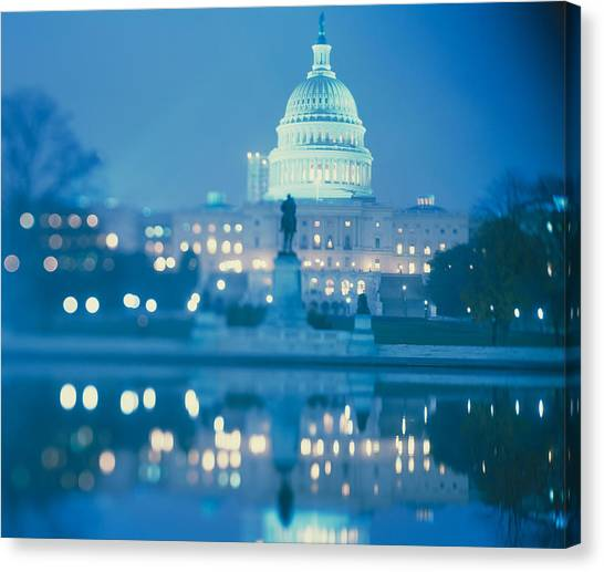 Capitol Building Canvas Print - Government Building Lit Up At Night by Panoramic Images