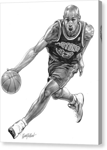 Detroit Pistons Canvas Print - Grant Hill by Harry West