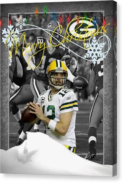 Aaron Rodgers Canvas Print - Green Bay Packers Christmas Card by Joe Hamilton