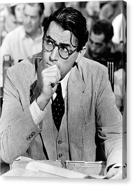 Mockingbird Canvas Print - Gregory Peck In To Kill A Mockingbird  by Silver Screen