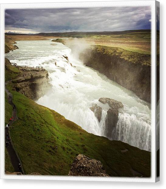 Waterfalls Canvas Print - Gullfoss Waterfall Iceland by Matthias Hauser