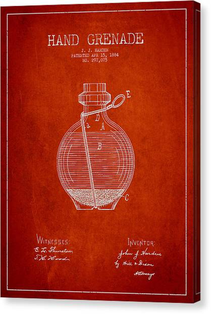 Grenades Canvas Print - Hand Grenade Patent Drawing From 1884 by Aged Pixel