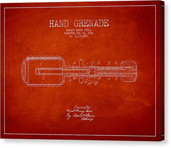 Grenades Canvas Print - Hand Grenade Patent Drawing From 1916 by Aged Pixel