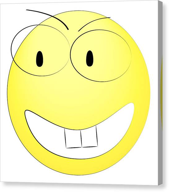 Head Canvas Print - Happy Yellow Smiley by Matan Reichman