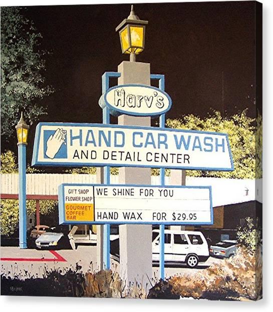 Harv's Car Wash Canvas Print by Paul Guyer