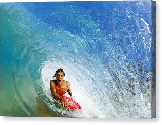 Bodyboard Canvas Print - Hawaii, Maui, Makena - Big Beach, Boogie Boarder Riding Barrel Of Beautiful Wave. by MakenaStockMedia