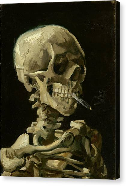 Head Of A Skeleton With A Burning Cigarette Canvas Print