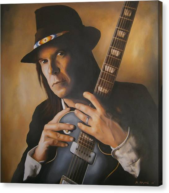 Neil Young Canvas Print - Heart Of Gold by Michael Payne