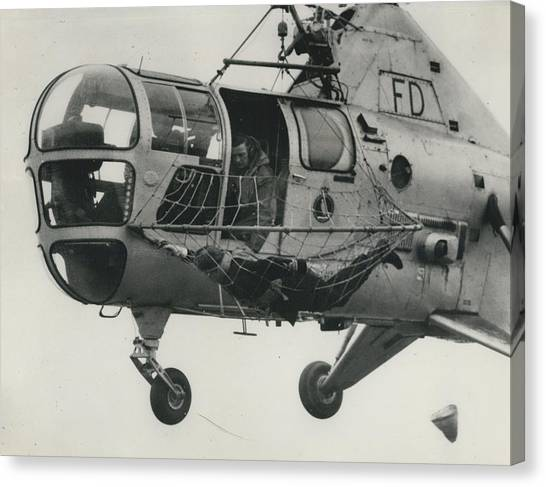 Helicopter Rescue - Royal Navy Adopts New Apparatus Canvas Print by Retro Images Archive