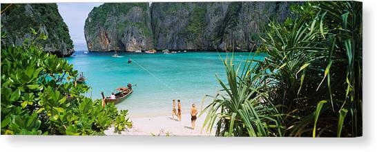 Phi Phi Island Canvas Print - High Angle View Of Tourists by Panoramic Images