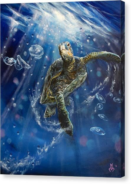Marine Life Canvas Print - Honu's Dance by Marco Antonio Aguilar