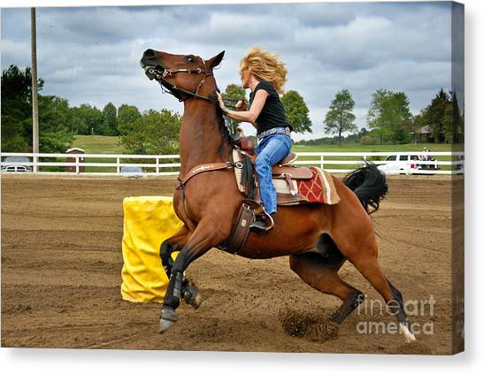 Barrel Racing Canvas Print - Horse And Rider In Barrel Race by Amy Cicconi