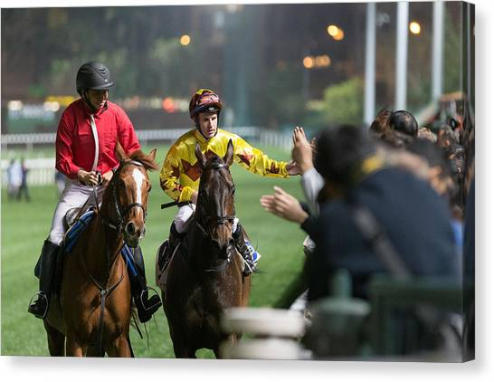 Horse Racing In Hong Kong - Happy Valley Racecourse Canvas Print by Lo Chun Kit