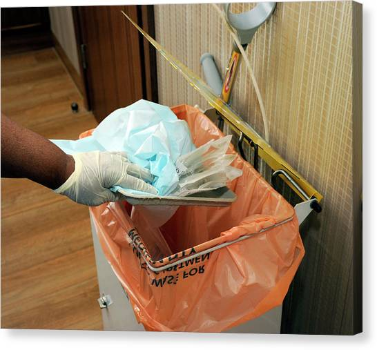 Rubbish Bin Canvas Print - Hospital Waste Disposal Routine by Public Health England/science Photo Library