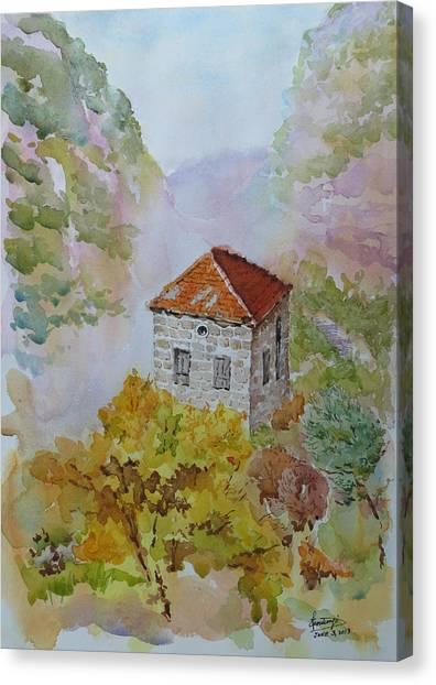 House Between Mountains Canvas Print by Ghazi Toutounji