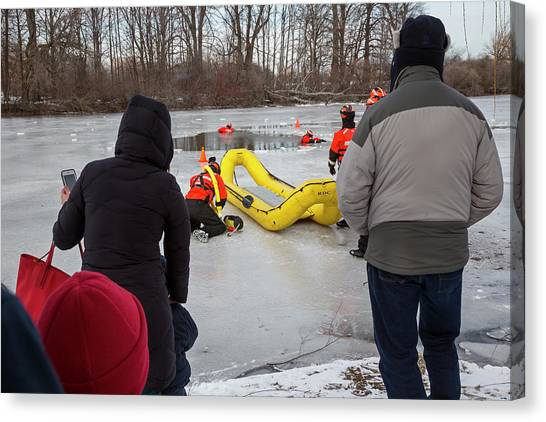 Ice Rescue Demonstration Canvas Print by Jim West/science Photo Library