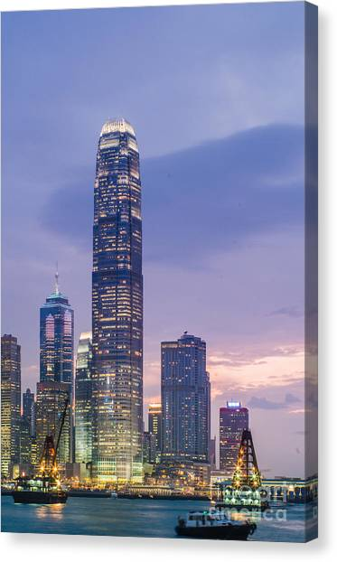 Ifc Tower In Hong Kong Skyline Canvas Print by Tuimages