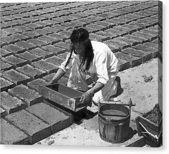 Mission California Canvas Print - Indians Making Adobe Bricks by Underwood Archives