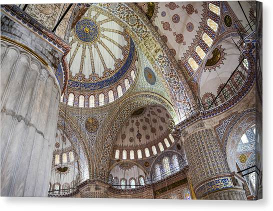 Interior Of Blue Mosque In Istanbul Turkey Canvas Print
