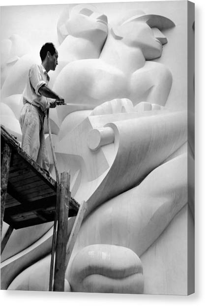 Sculptors Canvas Print - Isamu Noguchi Working by Underwood Archives